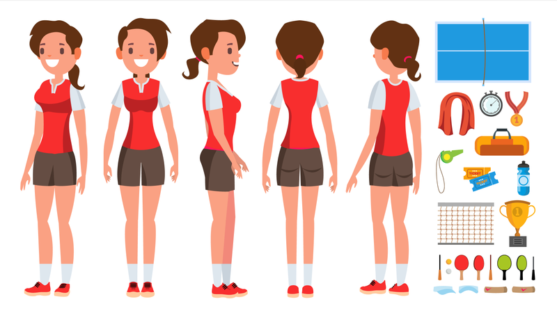 Table Tennis Player Female With Different Equipment Illustration