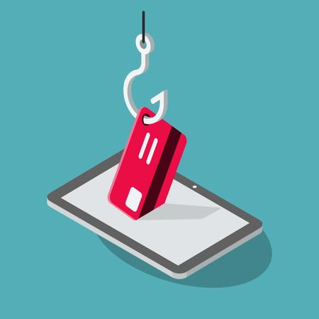 Tablet phishing attack symbol Illustration