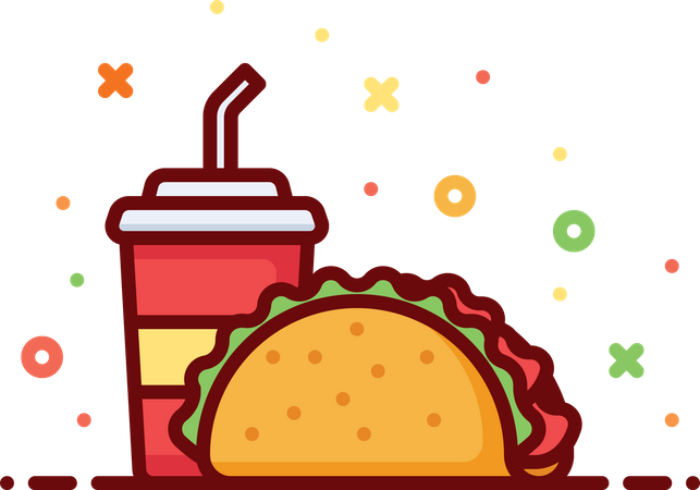 Taco With Drink Illustration