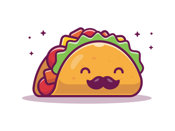 Taco with mustache Illustration
