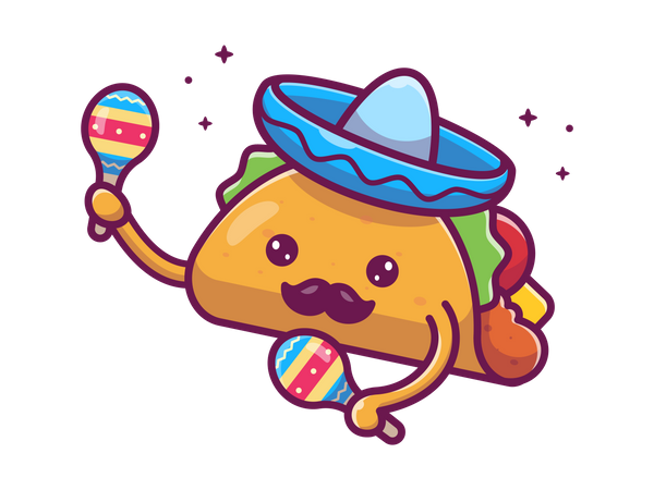 Taco with toy Illustration
