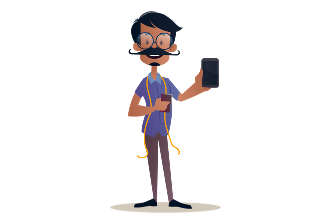 Tailor holding a mobile phone in hand for advertisement Illustration