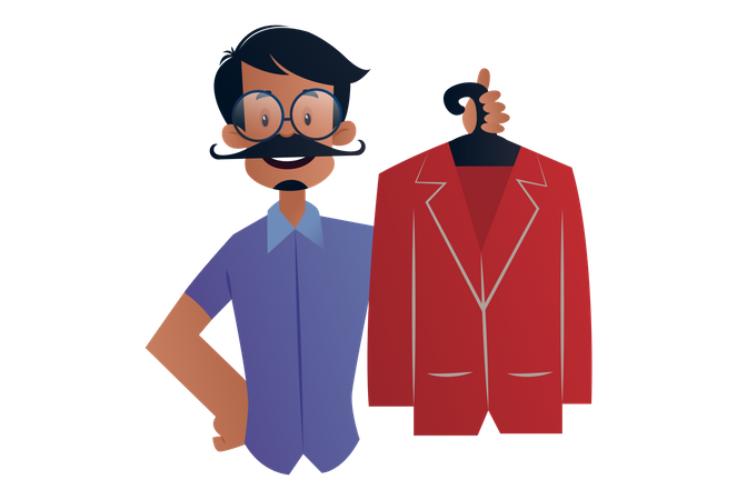 Tailor holding handmade coat in hand Illustration