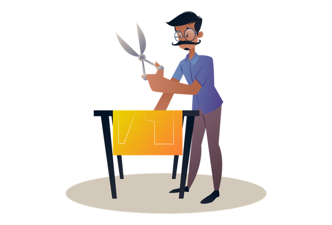 Tailor holding scissors and cutting a dress Illustration