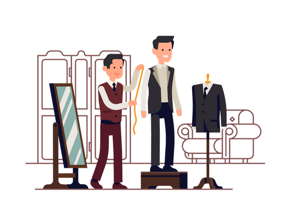 Tailor measuring client while he stands on fitting platform wearing unfinished suit Illustration