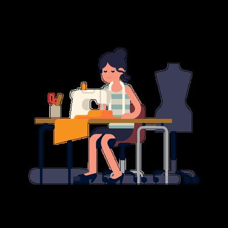 Tailor or dressmaker at work Illustration