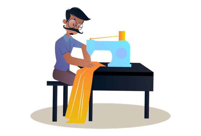 Tailor sitting on table and working on sewing machine Illustration