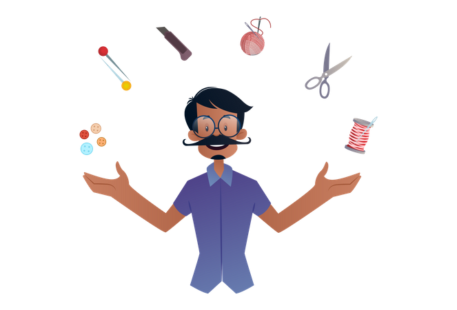 Tailor with his tools Illustration