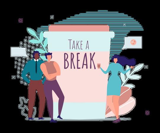 Take Brake for Motivation Banner with Office People Illustration