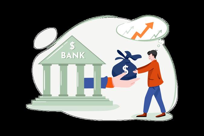Taking loan from bank Illustration