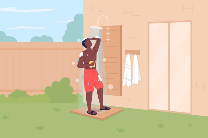 Taking shower in backyard Illustration