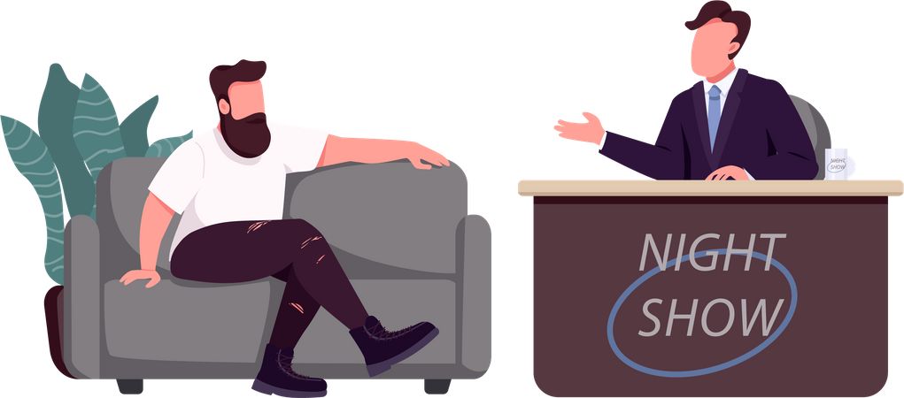 Talk show host and guest Illustration