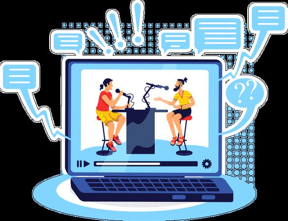 Talk show online Illustration