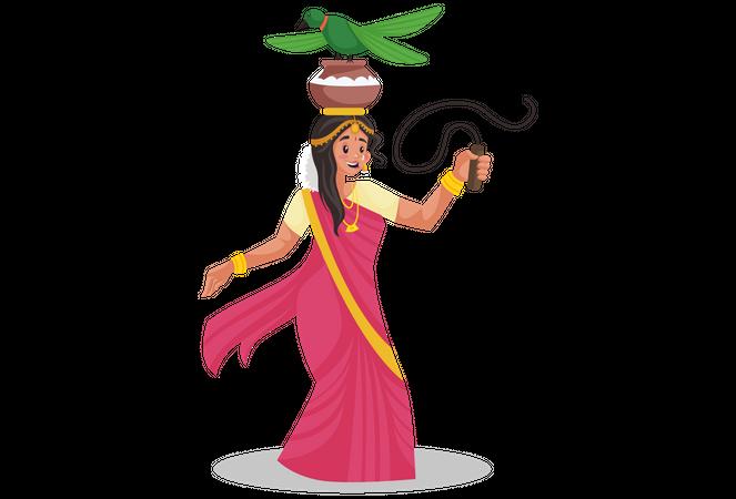 Tamil woman doing folk dance at the Pongal festival Illustration