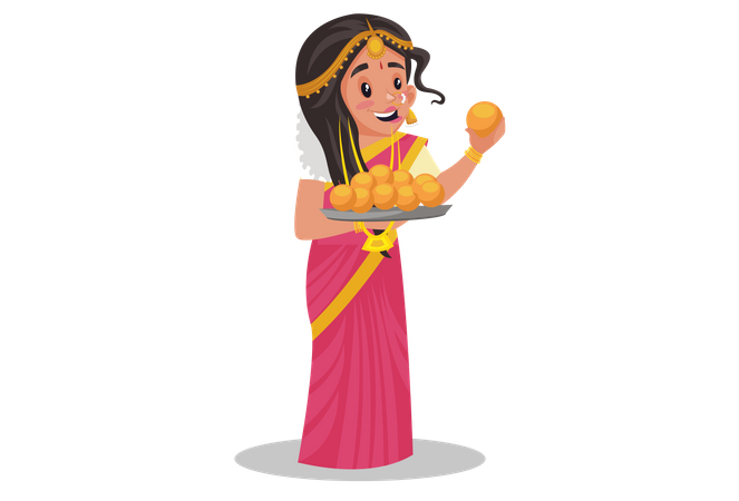 Tamil woman holding laddoo plate in her hand Illustration