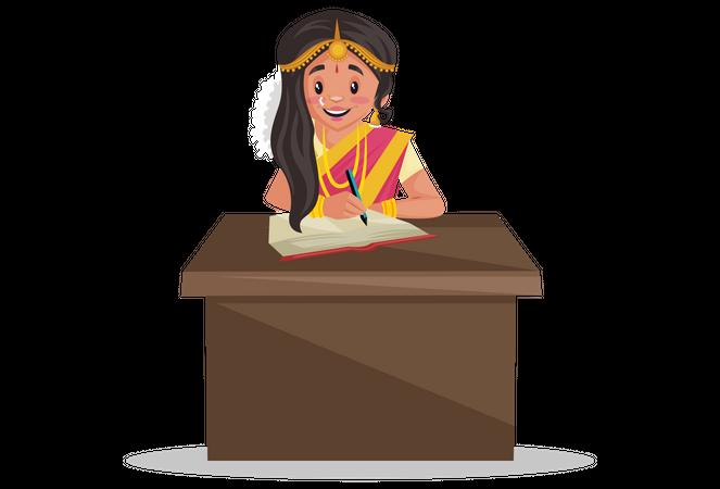 Tamil woman writing notes Illustration