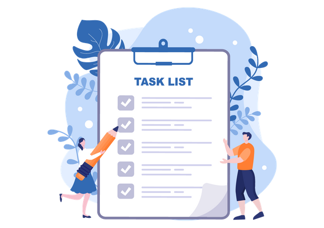 Task list Clipboard Illustration
