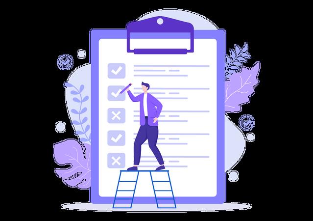 Task Management by businessman Illustration