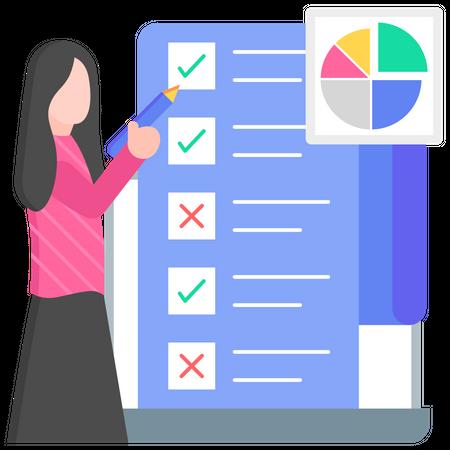 Task management by businesswoman Illustration