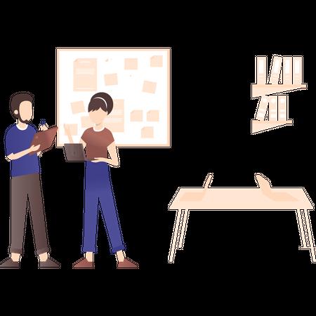 Task management by team leaders Illustration