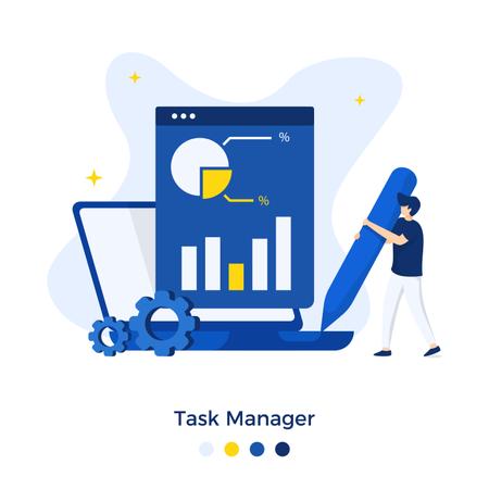 Task Manager Illustration concept Illustration