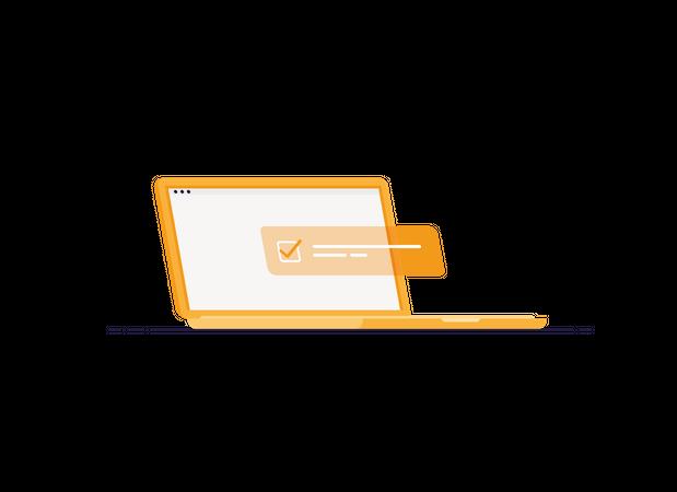Task on laptop Illustration