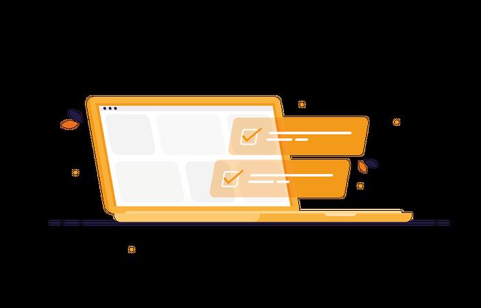 Tasklist on laptop Illustration