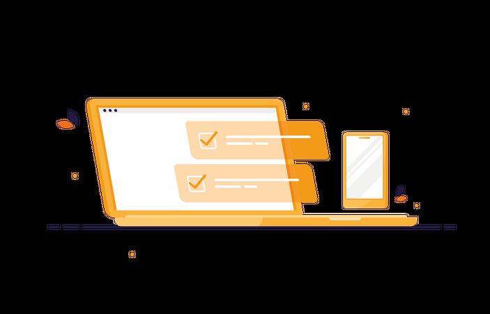Tasks on laptop with phone Illustration
