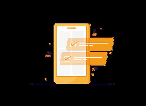 Tasks on phone Illustration