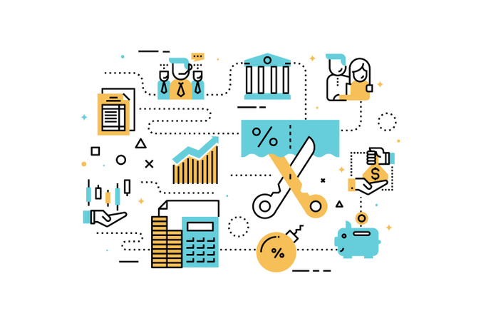 Taxes and finance line icons illustration Illustration