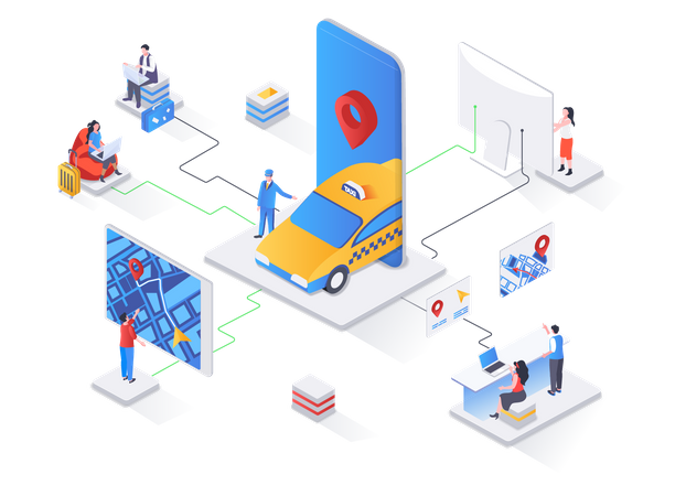 Taxi booking service Illustration