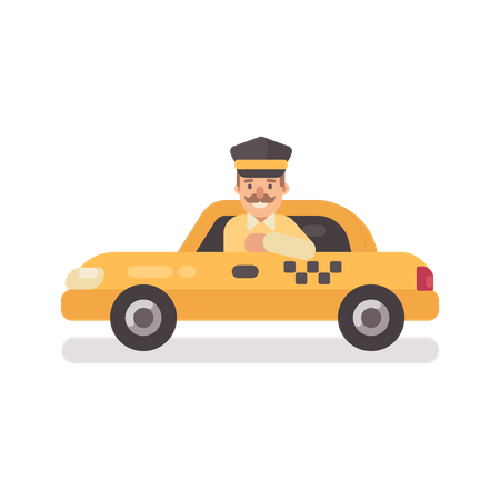 Taxi driver in a car Illustration