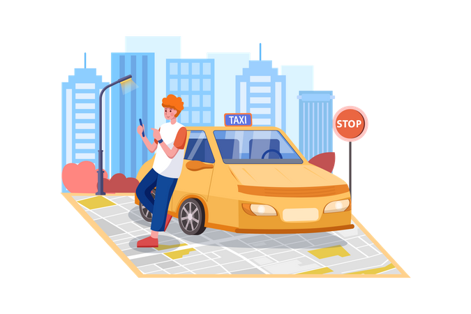 Taxi driver Waiting for new Passenger Illustration