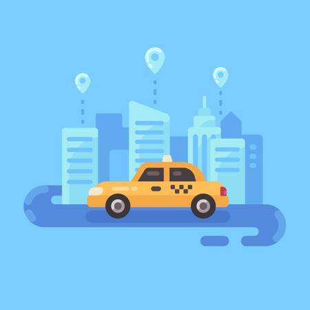 Taxi Service Flat Illustration Banner Illustration