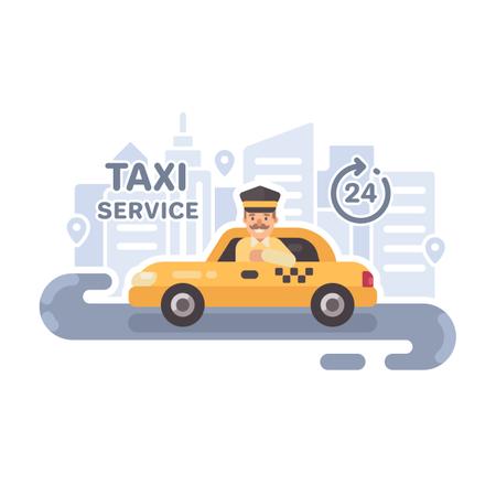 Taxi Service Flat Vector Illustration