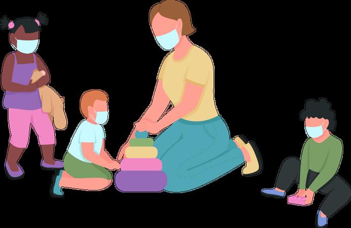 Teacher and kids in medical mask play together Illustration