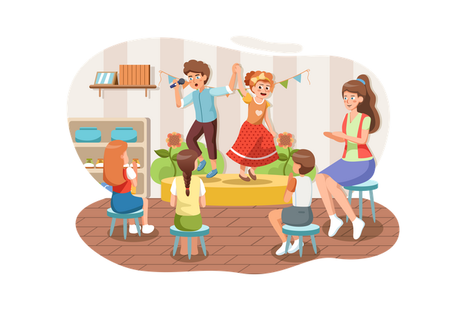 Teacher and kids playing in nursery Illustration