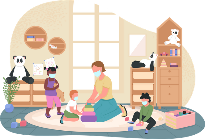 Teacher and kids with face, medical mask Illustration