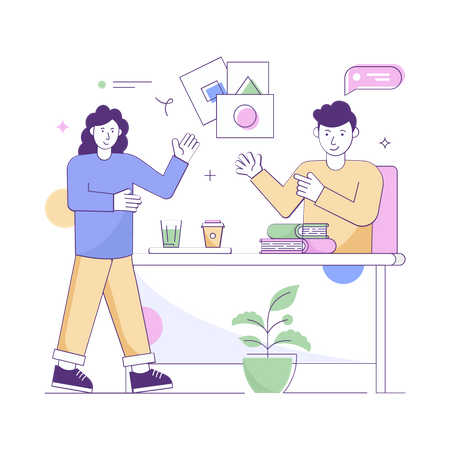 Teacher and student doing discussion Illustration