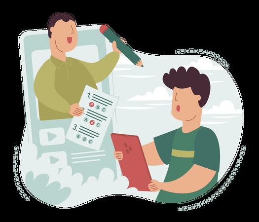 Teacher Checking Online test paper Illustration