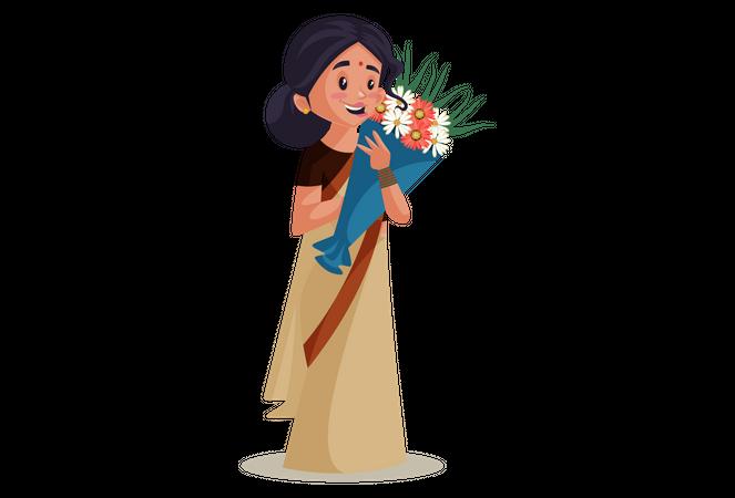 Teacher holding bouquet on Teacher's Day Celebration Illustration