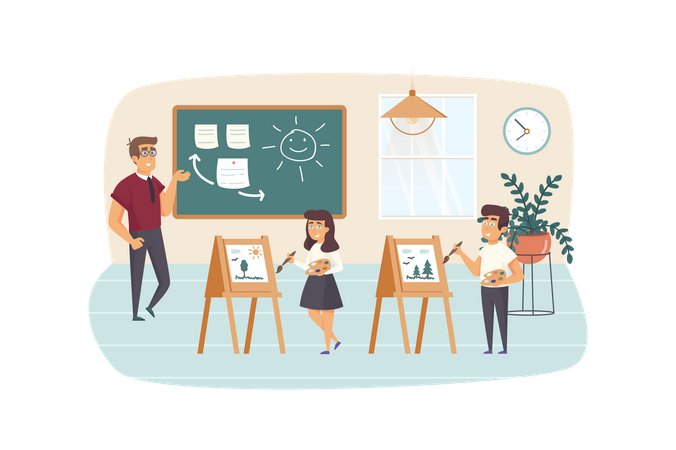 Teacher stand by chalkboard, pupils drawing on easels in classroom Illustration