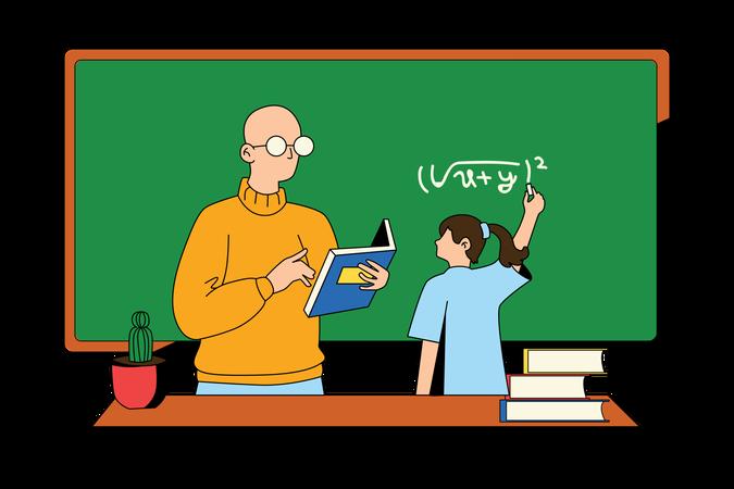 Teacher Teaching Student Illustration