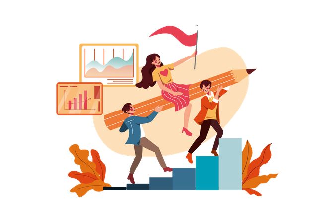 Team achieving success in startup Illustration