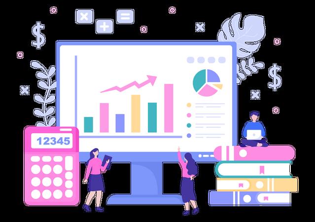 Team analyzing account details Illustration