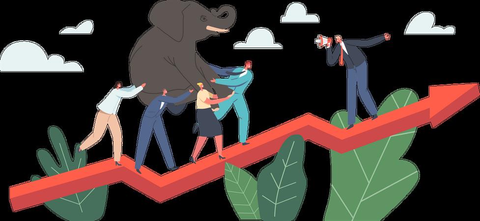 Team Climbing at Huge Growing risk Illustration