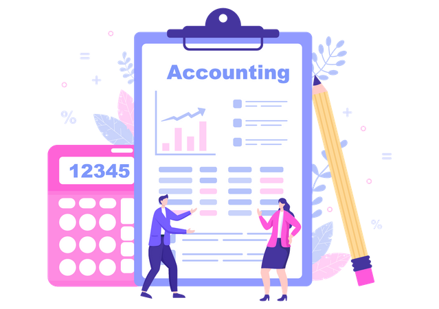 Team Discussing accounting details Illustration