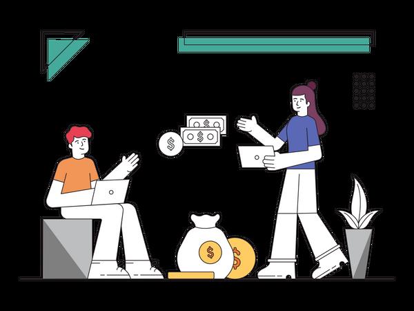 Team discussion regarding business profit Illustration