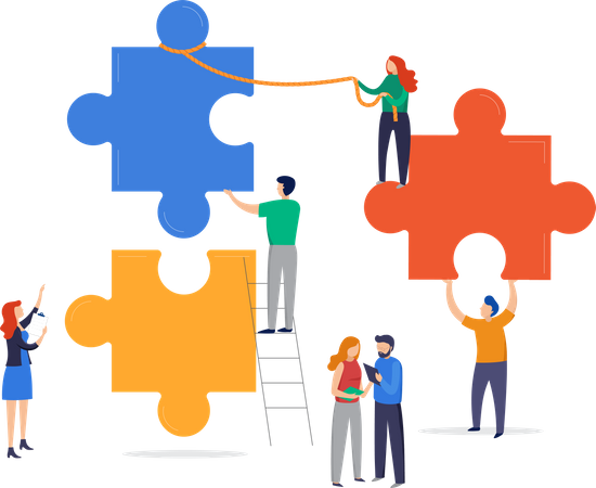 Team finding problem solution Illustration