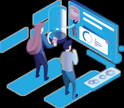 Team Meeting and analysis Illustration